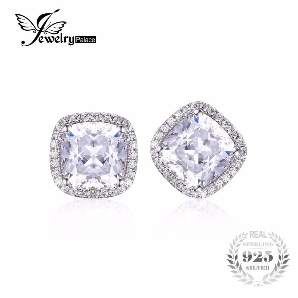 JewelryPalace Cushion 6ct Zirconia Halo Stud Earrings Pure Solid 925 Sterling Silver Jewelry For Women Classic