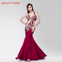 Adult Female Belly Dance Performance Dress Manual Customized Dance Competition Clothing Wine Red Pearl Embroidery Conjoined Robe