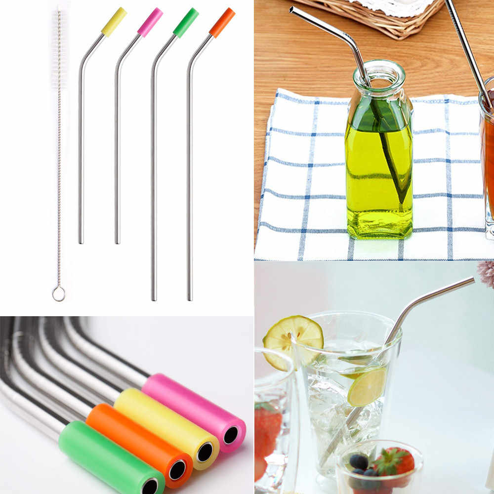 4   pcs reusable straws bent stainless steel metal straws silicone caps and brushes home wine accessories high quality   YF