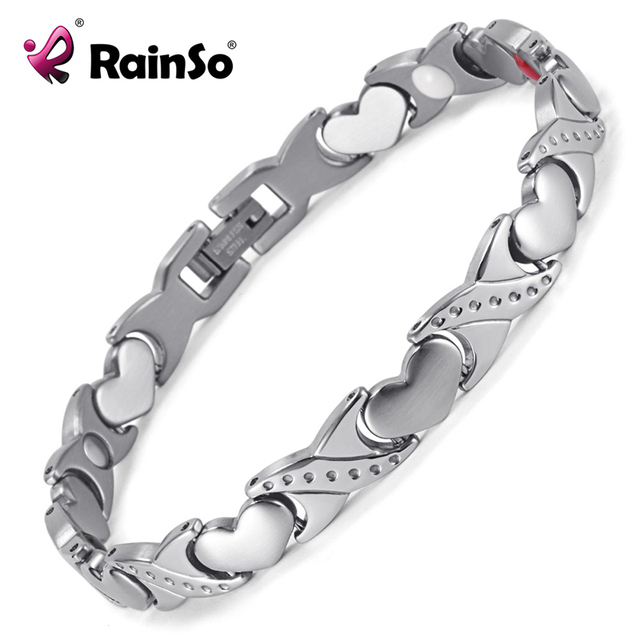 2017 Fashion Silver Stainless Steel Magnetic Health Elements Bracelet For Women Heart Hand Chain Free Shipping OSB-1544S