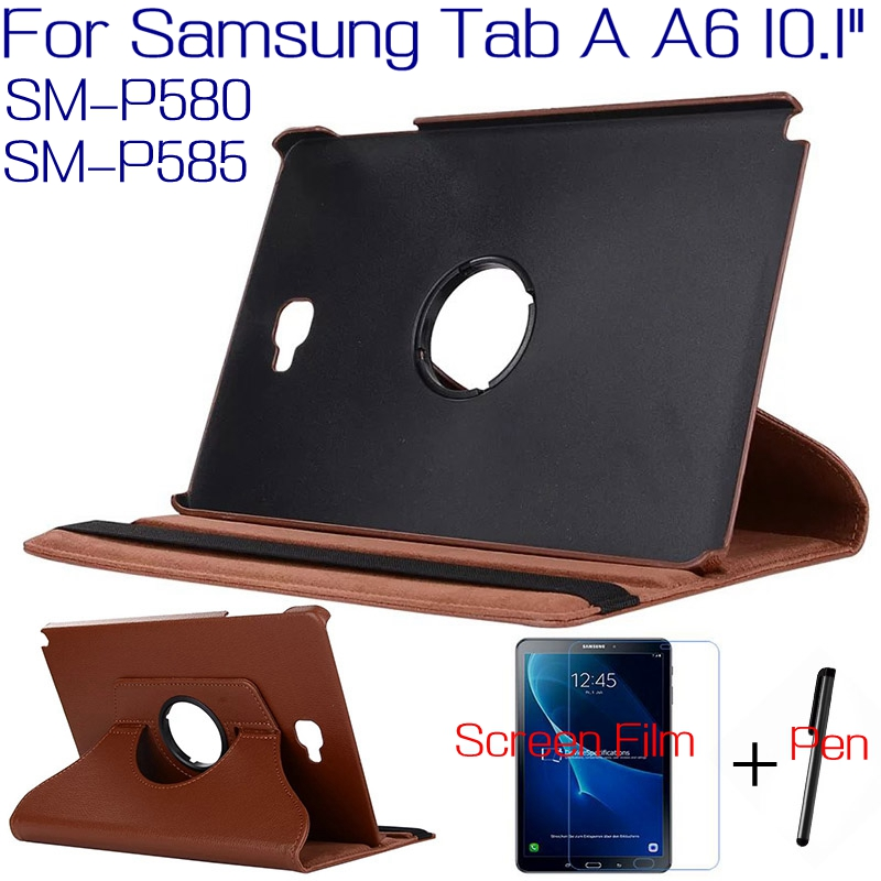 Rotating PU Leather Cover for Samsung Galaxy Tab A A6 With S Pen P580 P585 10.1 Tablet Funda Case+Free Screen Protector+Pen business ultra thin smart pu leather book cover for samsung galaxy tab s 10 5 t800 t805 tablet case free screen protector pen