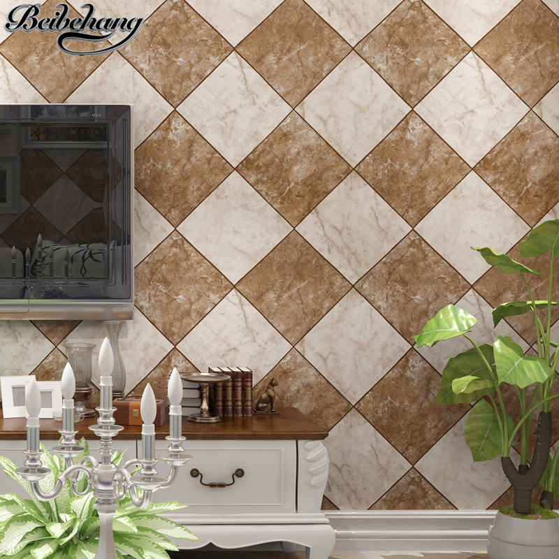 beibehang Chinese Vintage Simulation Brick Pattern 3D Scrubbing PVC Wallpaper Bedroom Living Room Study TV Wall Wallpaper