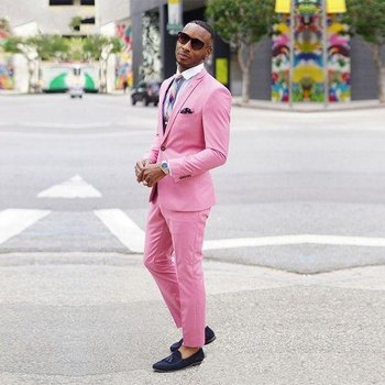 High Quality One Button Pink Groom Tuxedos Peak Lapel Groomsmen Men Blazers Suits (Jacket+Pants+Tie) NO:459