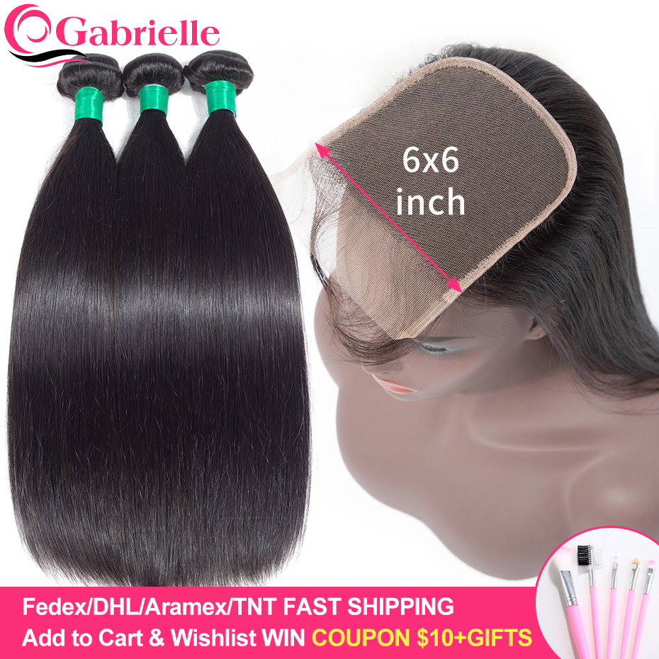 Gabrielle Hair Brazilian Straight Hair Bundles with 6x6 Lace Closure 100 Remy Human Hair Extensions 6x6