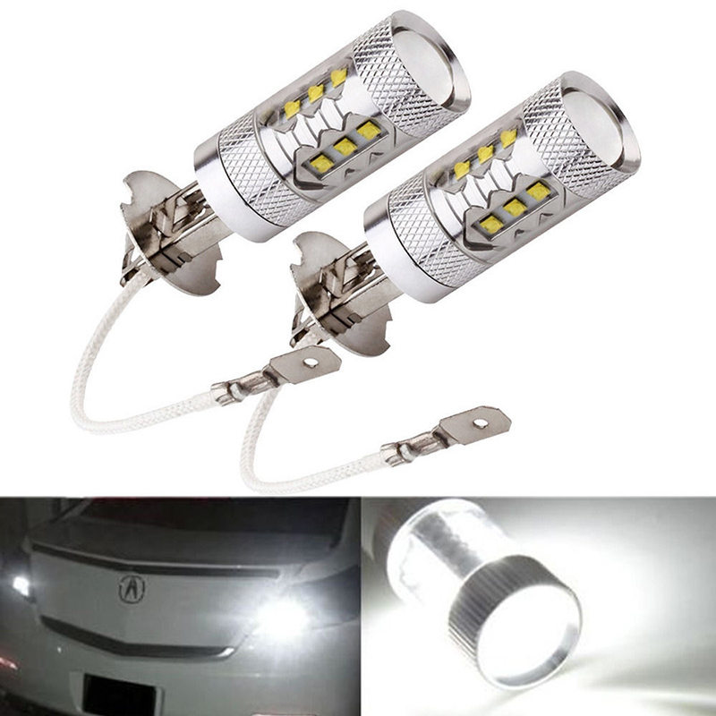 2pcs H3 80W Super Bright LED White Fog Tail Turn DRL Head Light Lamp Bulb CLH