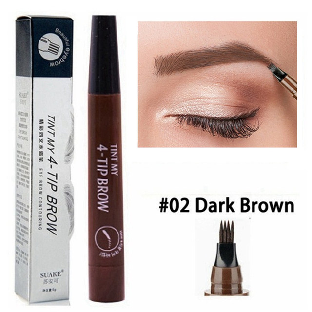 5 Colors Eyebrow Pen Waterproof 4 Fork Tip Eyebrow Tattoo Pencil Cosmetic Long Lasting Natural Dark Brown Liquid Eye Brow Pencil 2