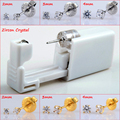 2Pieces Safe No Pain Sterile Ear Stud Piercing Gun Tool Kit Build In Surgical Steel Zircon Stone Stud Earring Studex