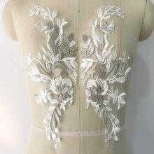 1 Piece Lace Applique Motif Laces Trim Wedding Embroidery Sew Craft Neckline DIY