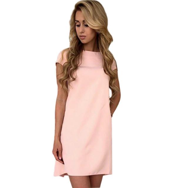 Fashion Women s O-neck Dress Sexy Short Sleeve Loose Mini Short Dresses  Casual Elegant Solid 4d0fdac533b7