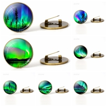 Green Natural Northern Lights Brooches Glass Cabochon Dome Jewelry Metal Bag Handmade Bronze Brooch Fashion Accessories Gift