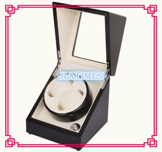 Luxury 2 Black White Watch Auto Winder Black Wood Case Cream Velvet Interior Lock Wooden Watch