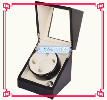 Luxury 2 Black + White Watch Auto Winder Black Wood Case Cream Velvet Interior Lock Wooden Watch Winder