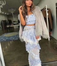 New Spring Two Piece Sets For Women Strapless Crop Tops High Waist Patchwork Lace Tassel Long Skirts Suits