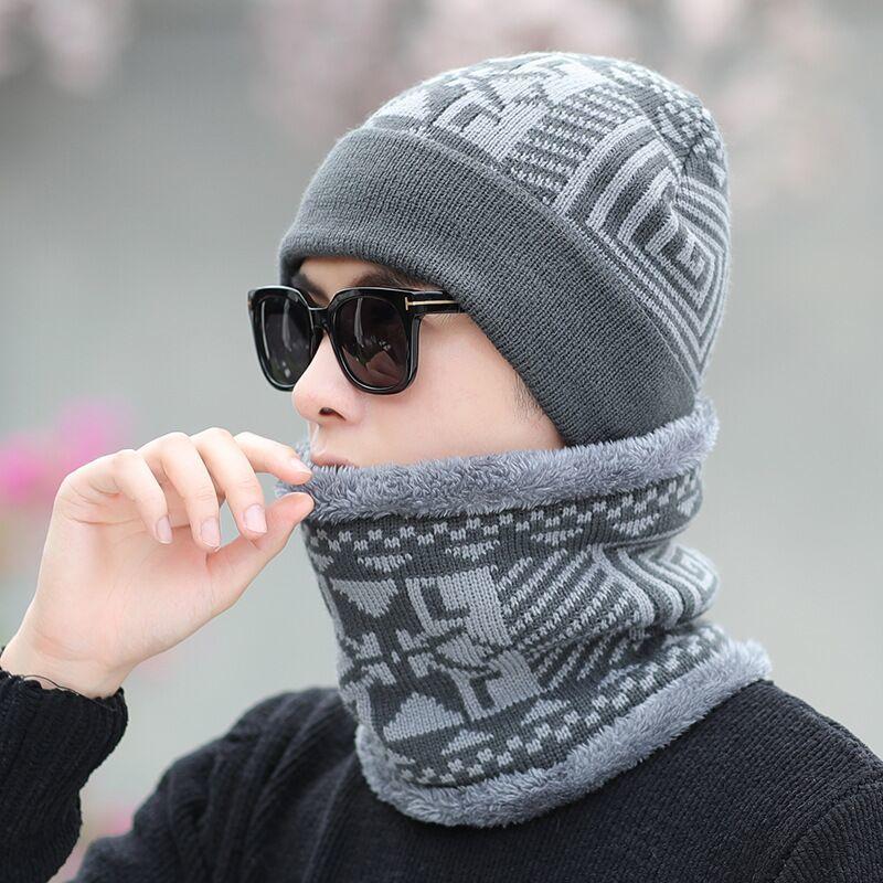 Neck warmer winter hat mask cap Balaclava scarf cap Winter wool Hats For men knitted hat men Beanie Knit Hat Skullies Beanies