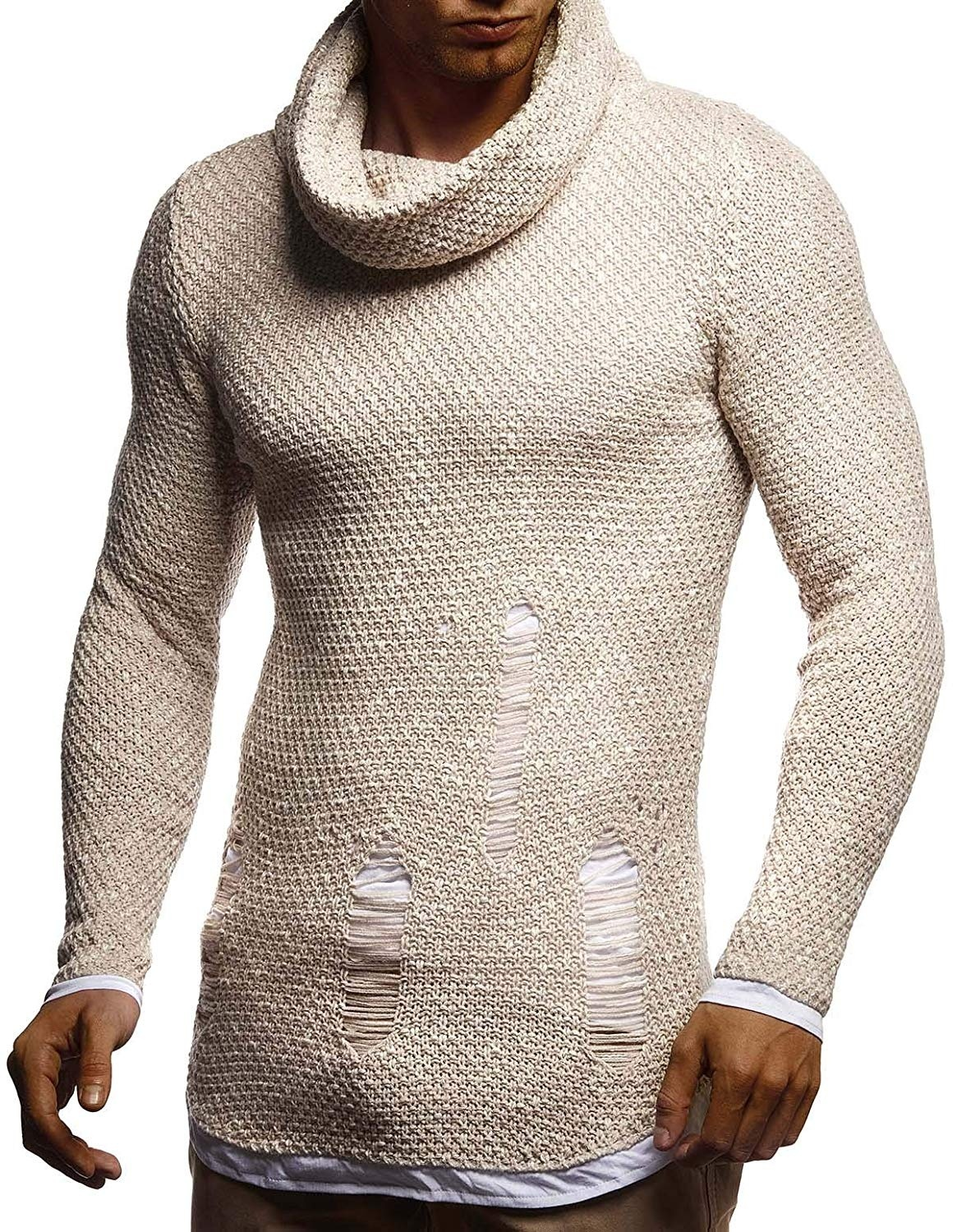 ZOGAA Men's Sweater Knitted Shawl Turtleneck Sweater Pullover Winter Hip Hop Streetwear Long Sleeve High Quality Man's Sweater