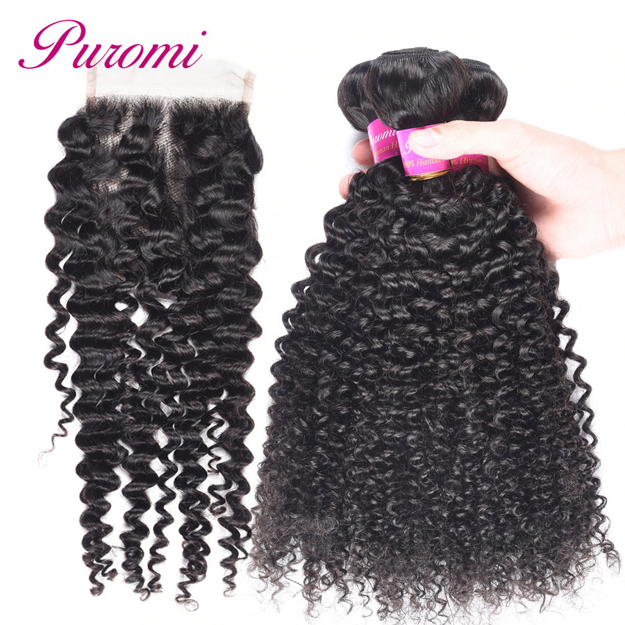 Puromi Hair Kinky Curly Bundles with Closure 10-28 Brazilian Hair with Closure 1b Natural Color Weave with Closure Non Remy