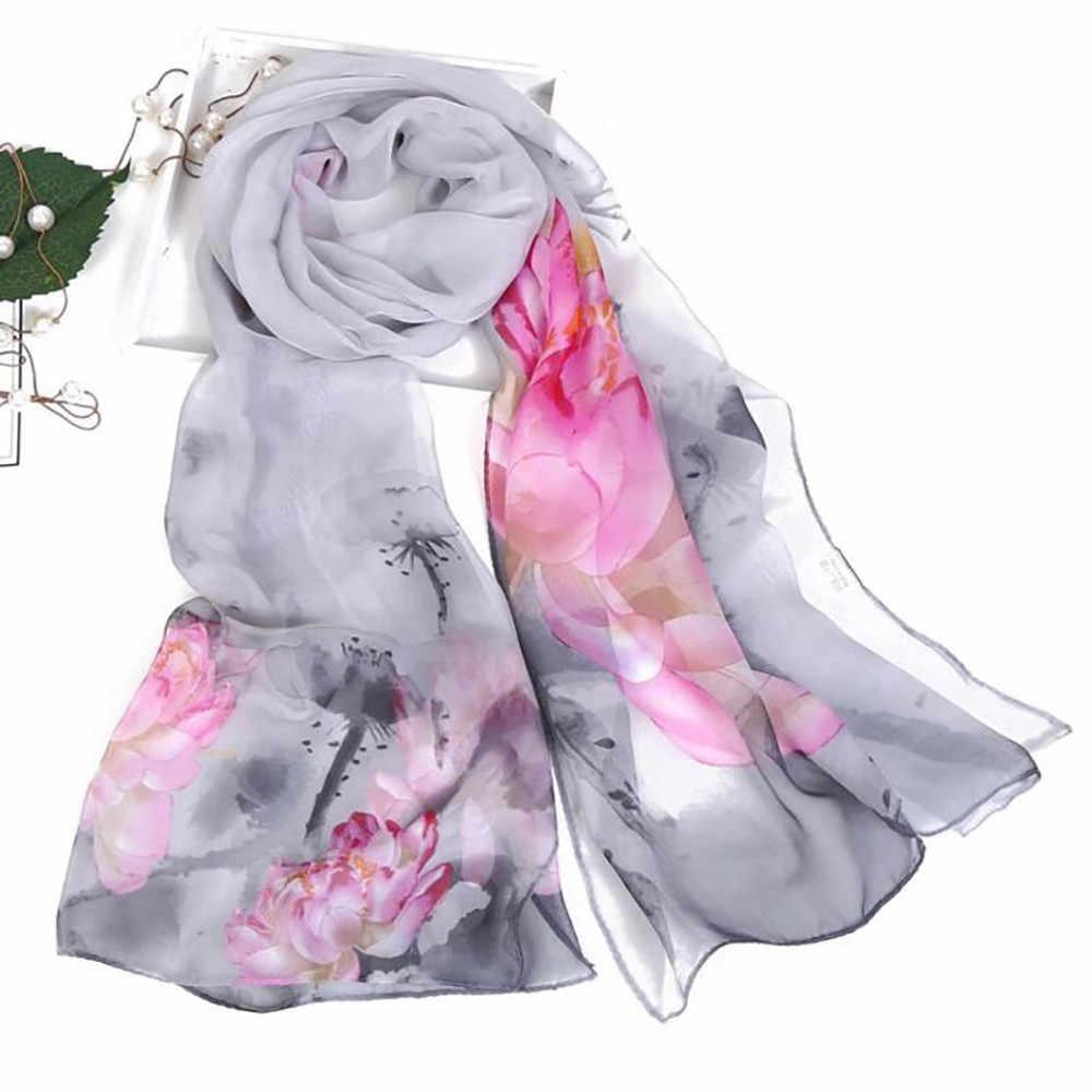 אופנה נשים צעיפי לוטוס הדפסה ארוך רך גלישת צעיף משובח גבירותיי צעיף מטפחת אלסטי כורכת פונצ 'ו צעיפים
