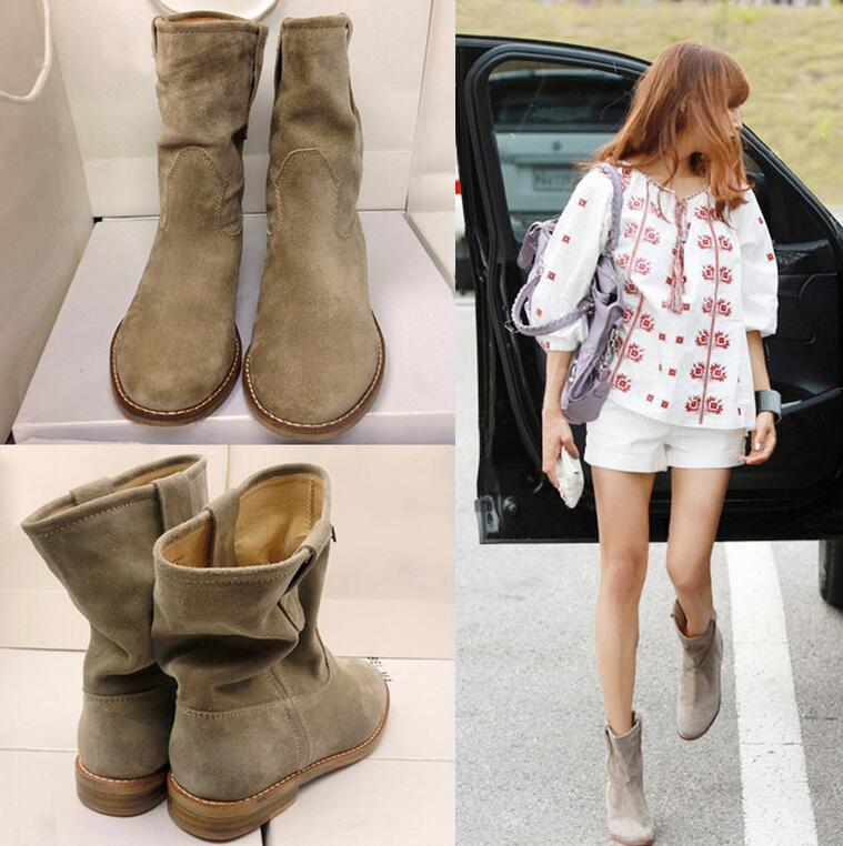 Kobiety prawdziwej skóry mody botki krótkie pluszowe gruba ostrzegają śniegowe buty prawdziwe skórzane nie pluszowe wiosna jesień buty 6 w Buty do kostki od Buty na  Grupa 2