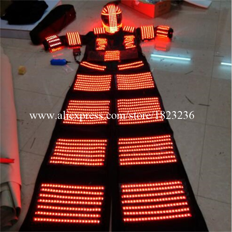 Led Luminous Stilt Robot Gugatan Dengan Helm LED Diterangi Pakaian - Hari libur dan pesta - Foto 6