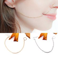Punk Gold Silver Plated Ethnic Clip On Nose Lip Nasal Ring Tassel Link Chain Nose Hook Ring Ethnic Women Indian Jewelry feminina(China)