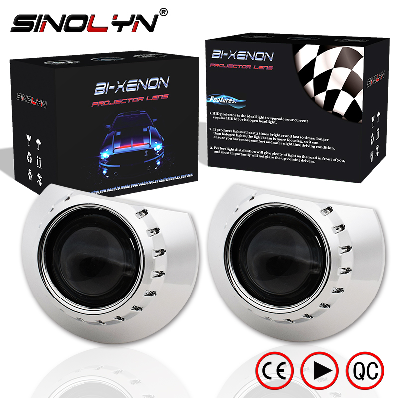 Sinolyn Headlight Lenses For BMW E46 Tuning Projector M3 ZKW/AL HID Bi-xenon 2.5 Lens H7 Car Lights Accessories Use H1 Xenon DIY