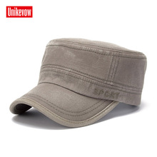 UNIKEVOW Solid simple washed military cap Sport embroidery flat top Hat for men Vintage Army Cadet Military Patrol Cap