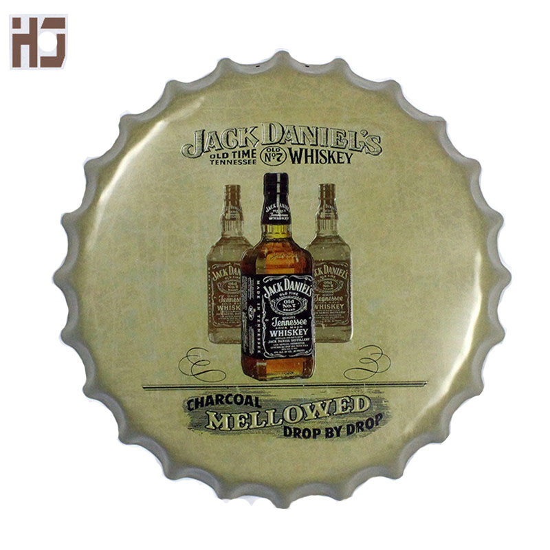 Embossed Round Vintage Tin Sign 40cm Mellowed Wine Sign Bar pub home Wall Decor Retro Metal Art Poster