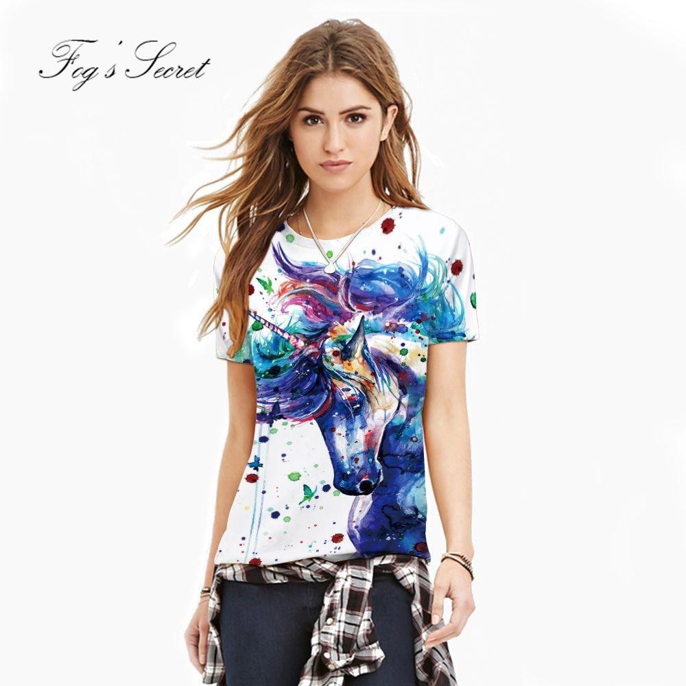 2018 camiseta del verano para las mujeres del color del unicornio - Ropa de mujer