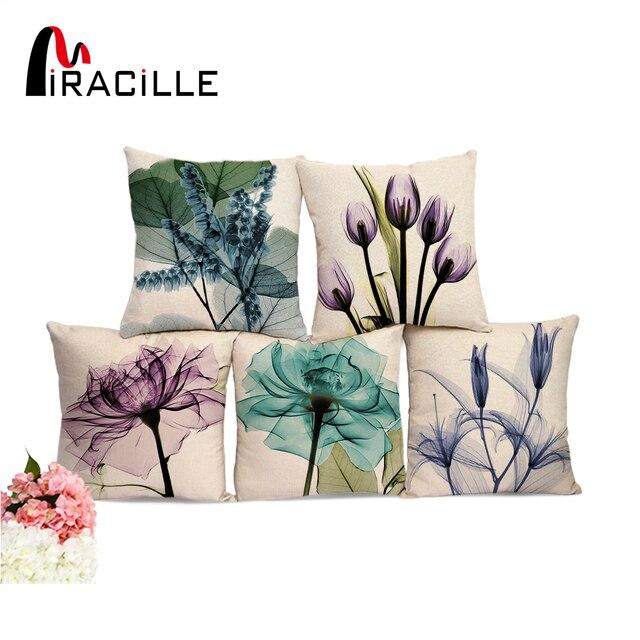 """Miracille כיכר 18 """"כותנה פשתן בצבעי מים פרחים מודפס כריות קפה בית כריות המותניים ללא מילוי בית תפאורה"""