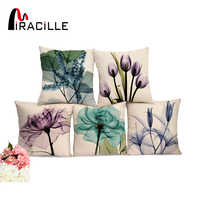"""Miracille Square 18"""" Cotton Linen Watercolor Flowers Printed Cushions Coffee House Waist Pillows Without Filling Home Decor"""
