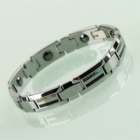 Vintage 10mm Width Man's Tungsten Carbide Bracelets Bangle with Shells and Wood Outside Magnetic Stones inlay for Health Care