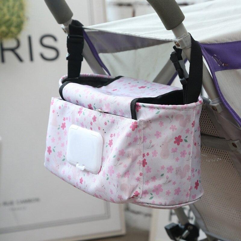 Carro de bebé colgante bolsa de almacenamiento organizador del cochecito de bebé bolsa de pañales de la momia gancho plegable de dibujos animados elefante viaje Nappy bolsa
