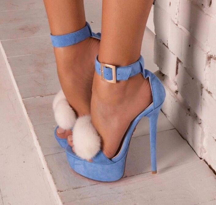 Light Blue Suede Platform High-heeled Sandals for Women White Fur Decor Stiletto Heels Dress Shoes Ankle Wrap Thin Heels Shoes