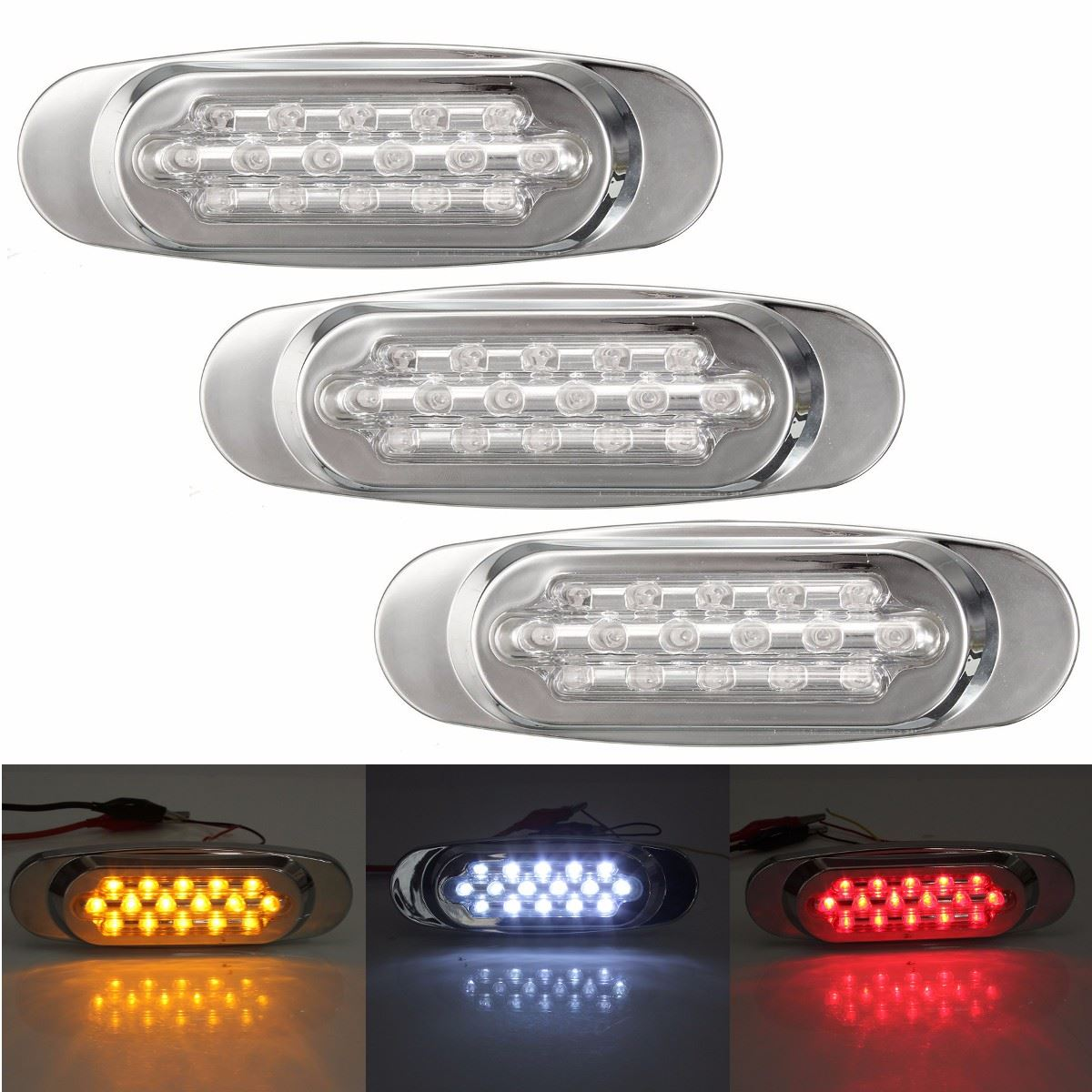 12V Waterproof 16 LED Beads Car Trailer Truck Edge Side Marker Clearance Lights Straight Bulb Warning Lamp Caravan Parking Light bosnic ph control 1