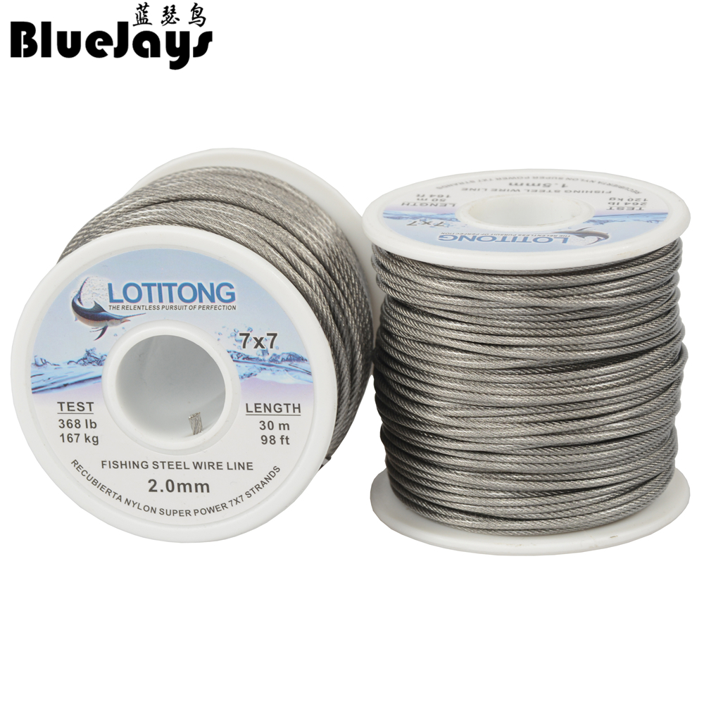 5000 ft//meter Nylon Coated 1X7 Fishing 30 lb Black Wire Leader Material Rigging