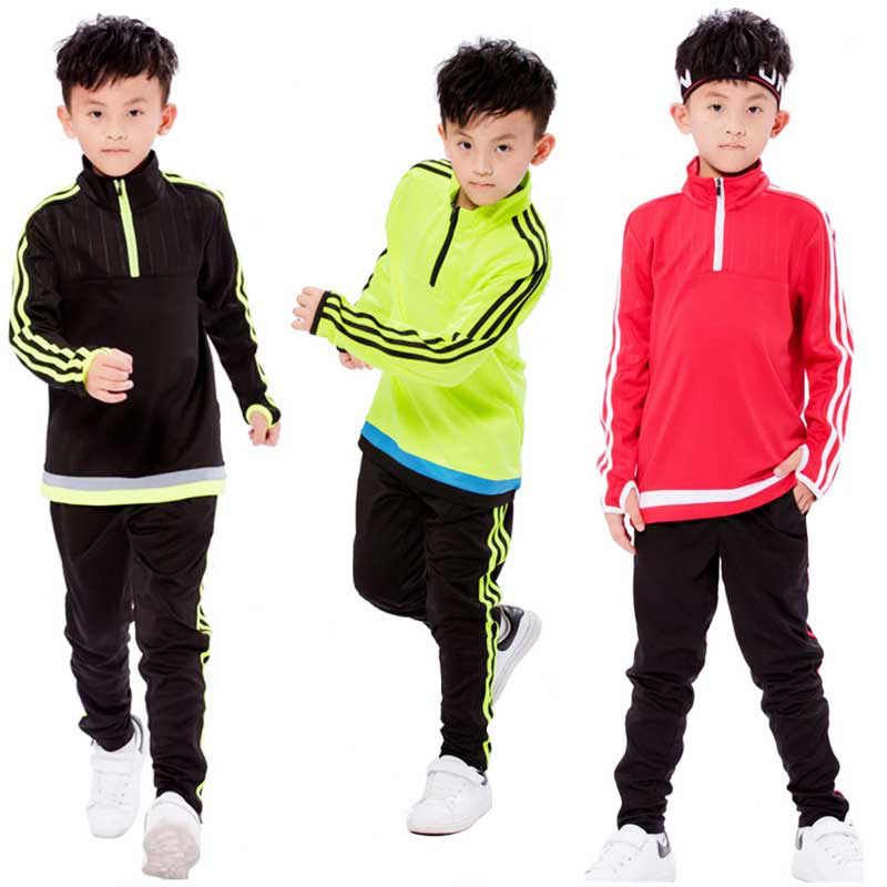 Boy Girl Spring Autumn Running Sweatshirt + Sweatpants Fitness Basketball Football Sets Quick Dry Uniforms Sport Shirts + Pants