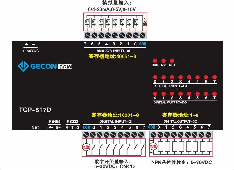 Entrée analogique 8 canaux sortie transistor NPN 8 canaux entrée de commutation 8 canaux Modbus RTU - 2
