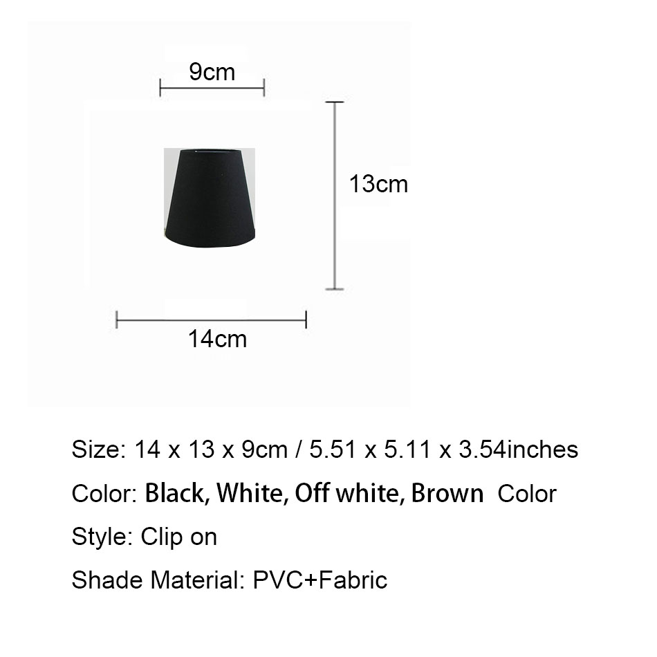 2PCS DIY 14cm/5.51inch White Black Brown off white color Lampshades for lamp, Clip on