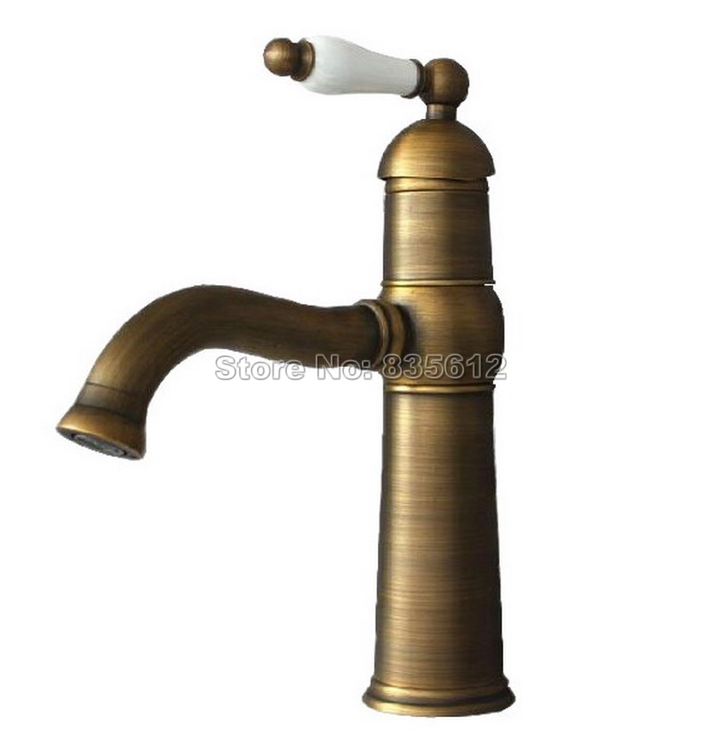Antique Brass Ceramic Handle Bathroom Mixer Taps / Single Hole Deck Mounted Retro Style Vessel Sink & Kitchen Faucet Wnf114 kitchen 97152 retro design bathroom vessel sink mixer faucet single handle deck mounted basin faucet antique brass torneira