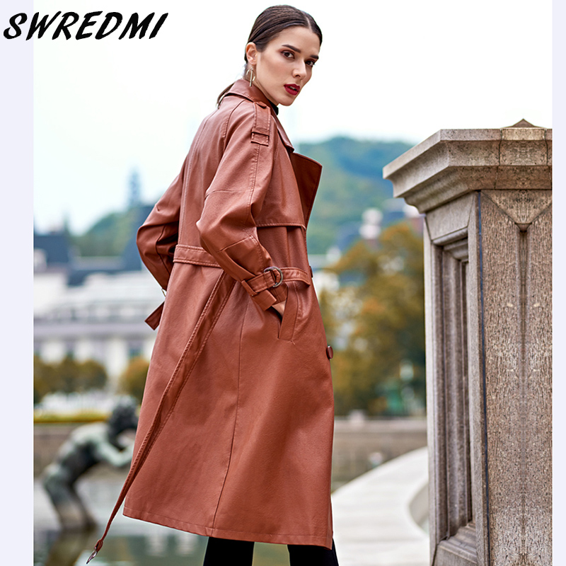 SWREDMI 2018 Autumn And Winter New Women Leather Trench Brown Female Leather Coat High Street Sashes Long Leather Clothing Plus  1