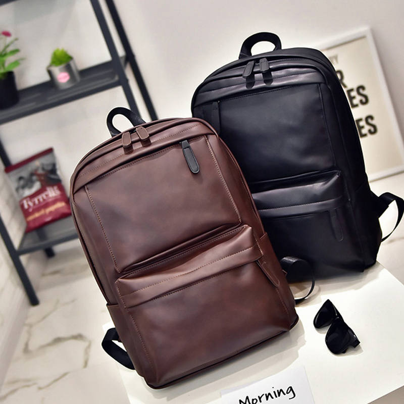 XIAODOO Black Leather Men's Backpack Travel Casual Waterproof Laptop Backpack For Man Fashion School Bag PU Leather Male 2019