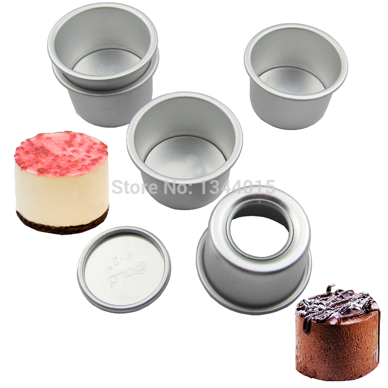 "5PCS 2.5/""ROUND MINI CAKE PAN REMOVABLE BOTTOM PUDDING MOLD DIY ALLOY BAKING TOOL"