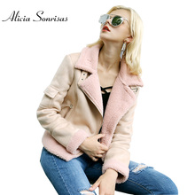 Women Faux Shearling Sheepskin Coat New 2017 Autumn Lamb Wool Locomotive Suede Leather Jacket Warm Thick Short Coats AS30001