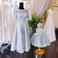 Mama and Daughter Dress 2018 Matching Mother Daughter Clothes Family Look Mommy and Me Plus Size Lace Party and Wedding Dress
