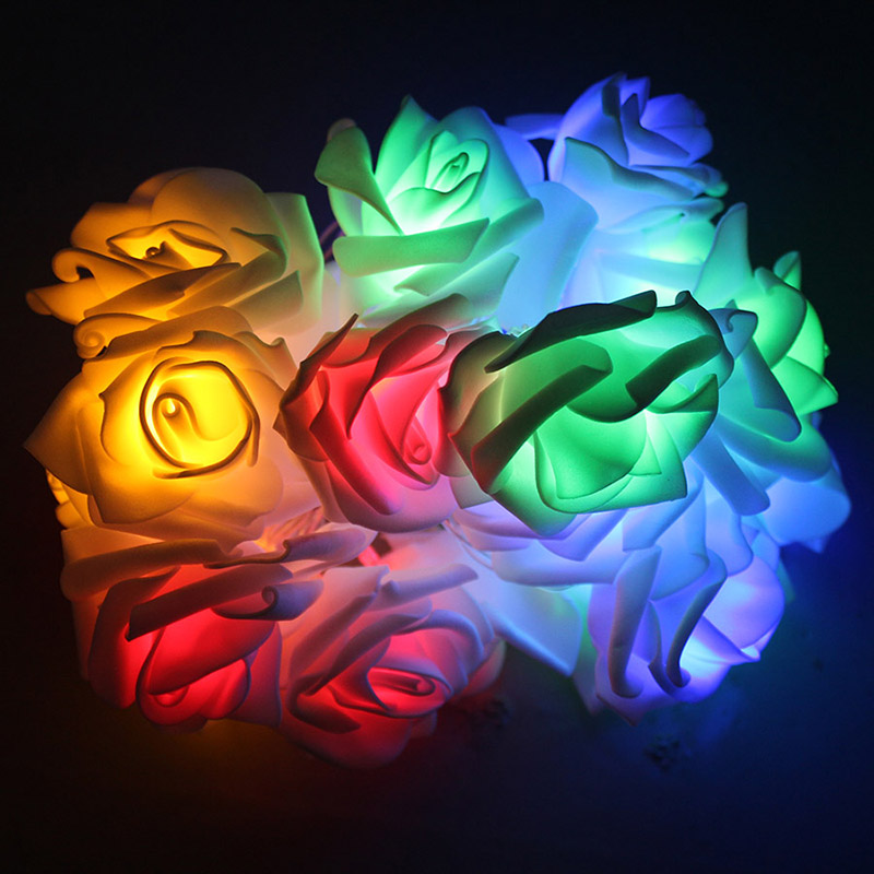 HANMIAO 20 LED Garland Rose Flower on Batteries LED Lights Decoration Birthday Party Holiday Lighting Wedding Valentie 39 s Day 13 in Holiday Lighting from Lights amp Lighting
