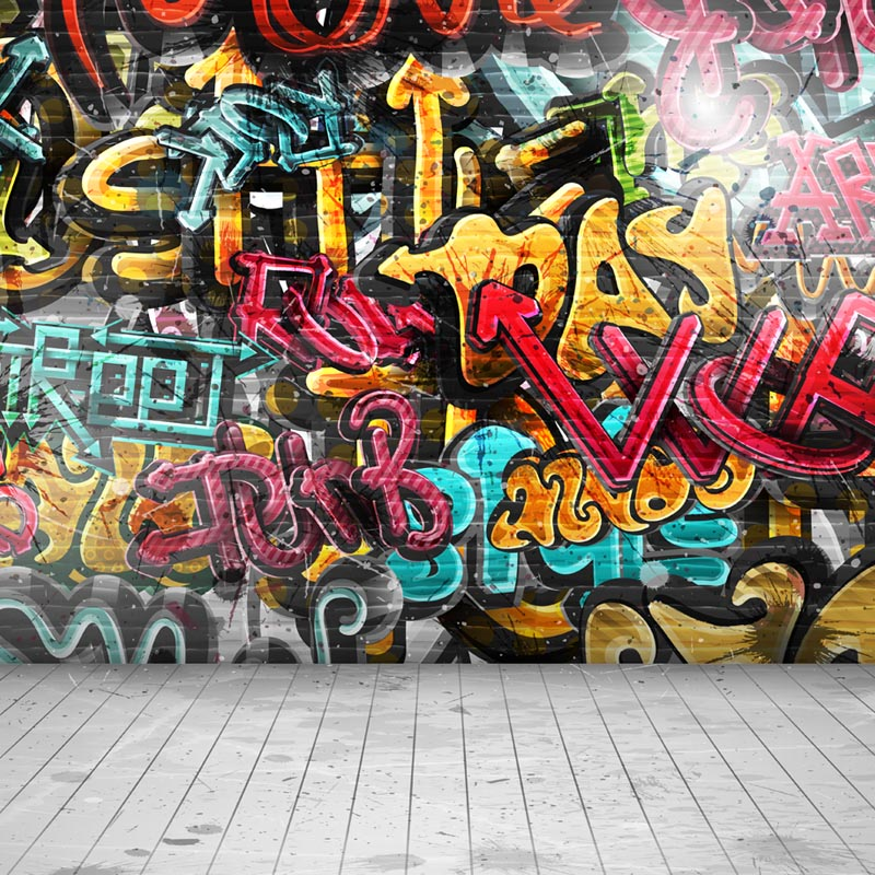 Graffiti wall Thin Vinyl Photo Backdrops Kids Photography Background 10X10ft F-2156 huayi 10x20ft wood letter wall backdrop wood floor vinyl wedding photography backdrops photo props background woods xt 6396