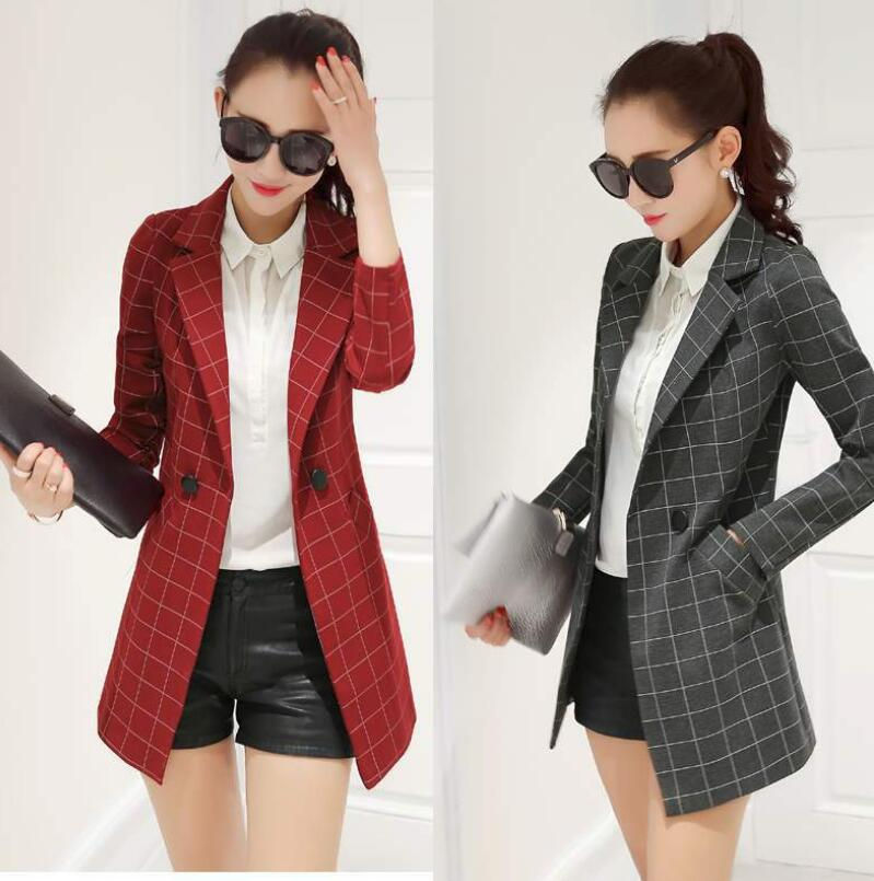 Youth Ladies Small Suit 2019 New Long-sleeved Ladies Plaid Jacket Personality Slim Windbreaker Women's Clothing Women Coat  3XL