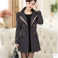 High Quality New 2015 Spring Autumn Winter Trench Coat Women Brand Fashion Polka Dot Slim Plus