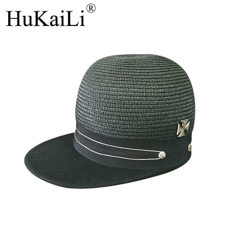 M2017 metal spring and summer  double chalk line straw patchwork equestrian baseball cap cloth hats for men and women knights of the new han edition wool equestrian hat baseball cap hats for men and women metal chain badge