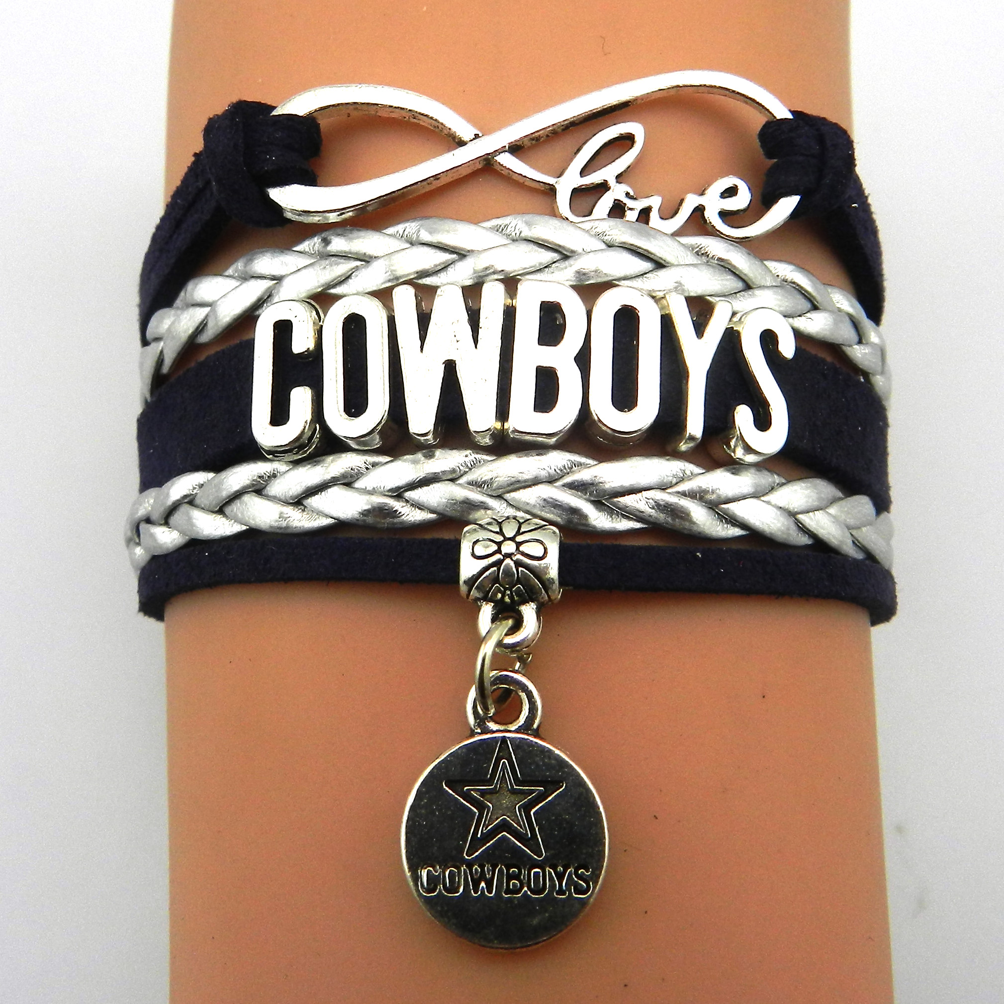 Aliexpress 10 Pieces Lot Infinity Love Dallas Cowboys Football Team Bracelet Navy Silver Custom Any Bracelets Offer Drop Shipping From